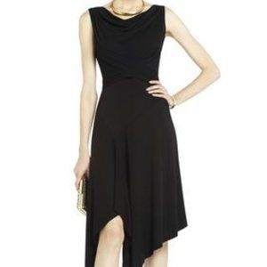 "BCBG | Black "" Ezra"" Drape Asymmetrical  Dress LG"